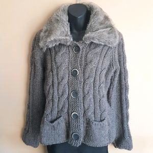 Button down Sweater with Faux Fur